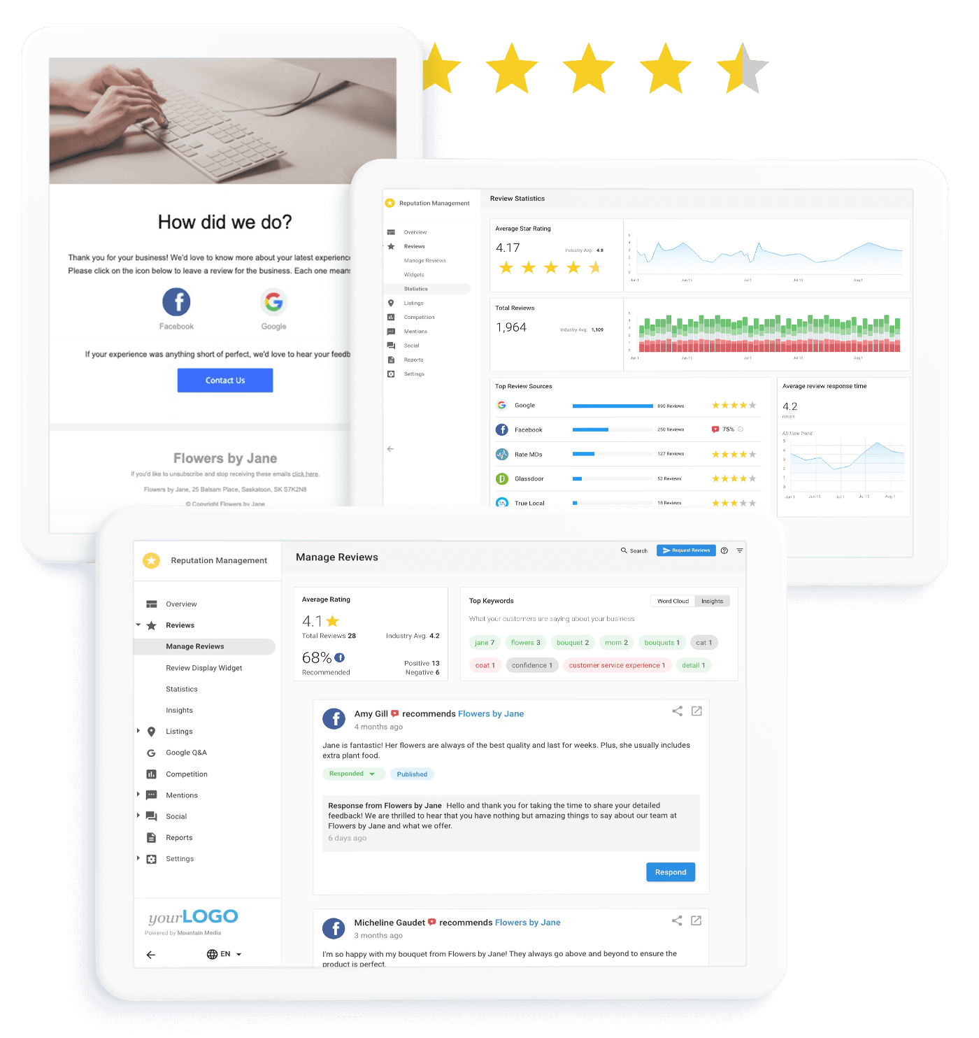 Stay on top of what your customers are saying about you and why.   Monitor and manage all aspects of your online reputation, including listings, reviews, mentions and more.   Manage your reviews from multiple review sites in one place.   Stay on top of your review on all of the most popular review sites, including Facebook, Google+, and Yelp as well as a ton of sites that are relevant to your specific industry. Also, easily respond with 40+ curated responses, and gain critical insights into what your customers are saying most often and why.   View the accuracy of your business listing data across the web.   Improve your search rank by identifying online business listings that are inaccurate or missing from essential directories like Google, Facebook, Bing and 60+ others.
